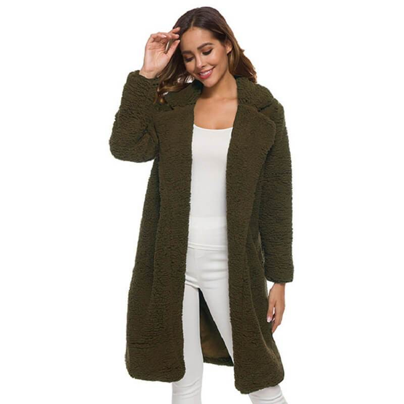 Plus Size Long Wool Coat - army green color