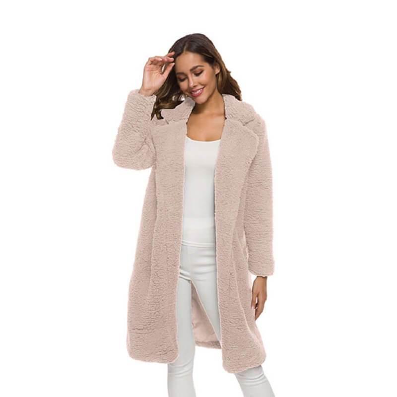 Plus Size Long Wool Coat - pink color