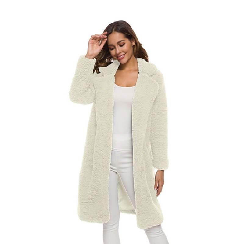 Plus Size Long Wool Coat - white color
