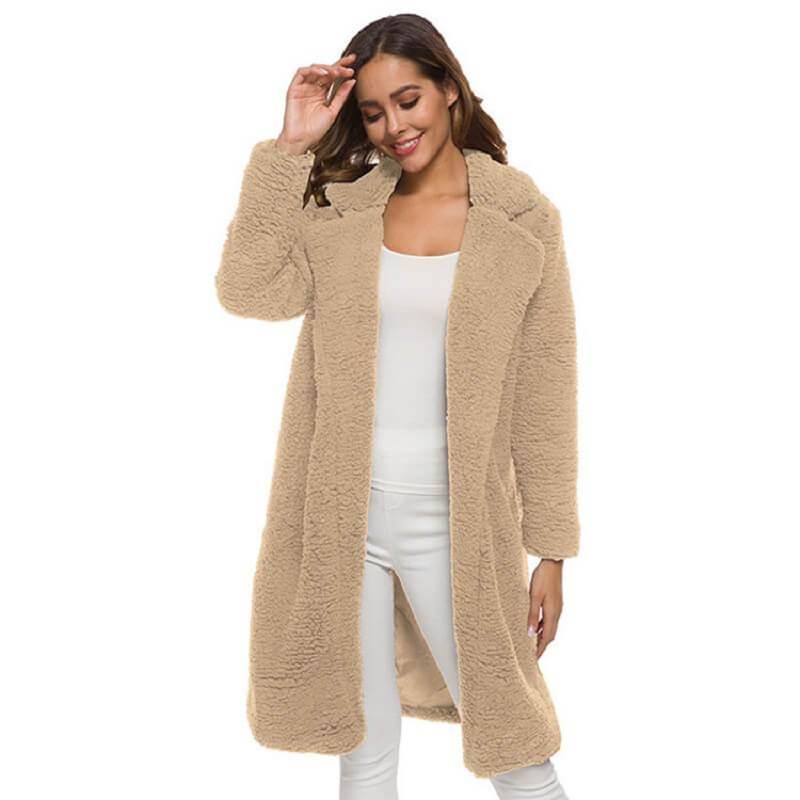 Plus Size Long Wool Coat - khaki color