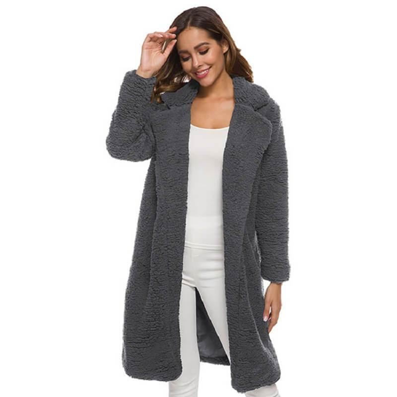 Plus Size Long Wool Coat - gray color