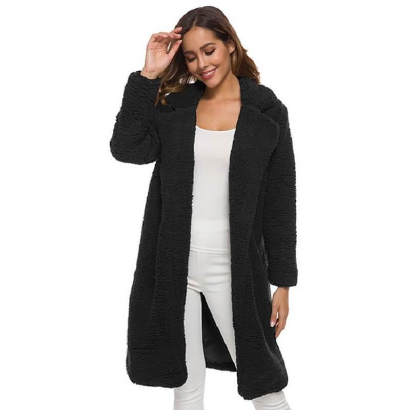 Plus Size Long Wool Coat - black color
