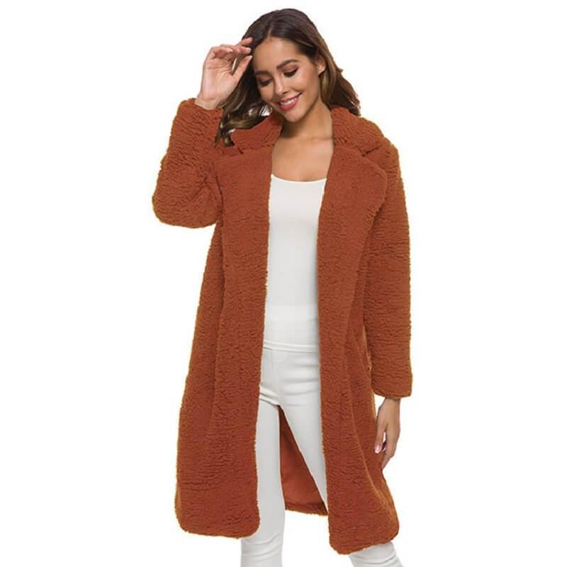 Plus Size Long Wool Coat - caramel color