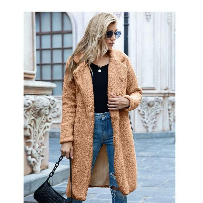 Plus Size Long Wool Coat - camel color