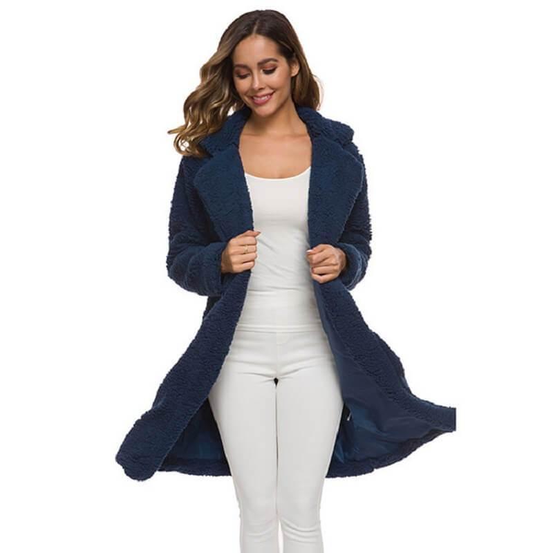Plus Size Long Wool Coat - navy color