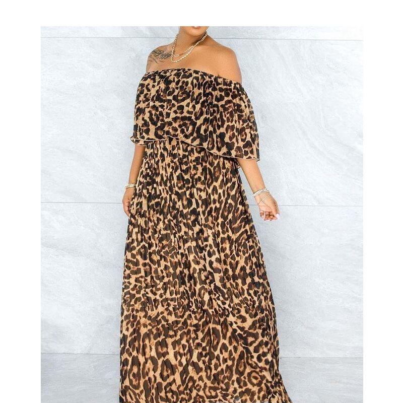 Plus Size Maxi Dresses - lepard print positive