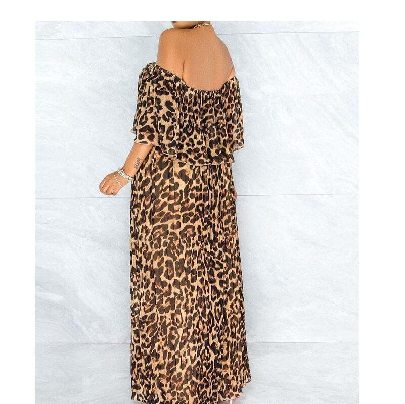 Plus Size Maxi Dresses - lepard print back