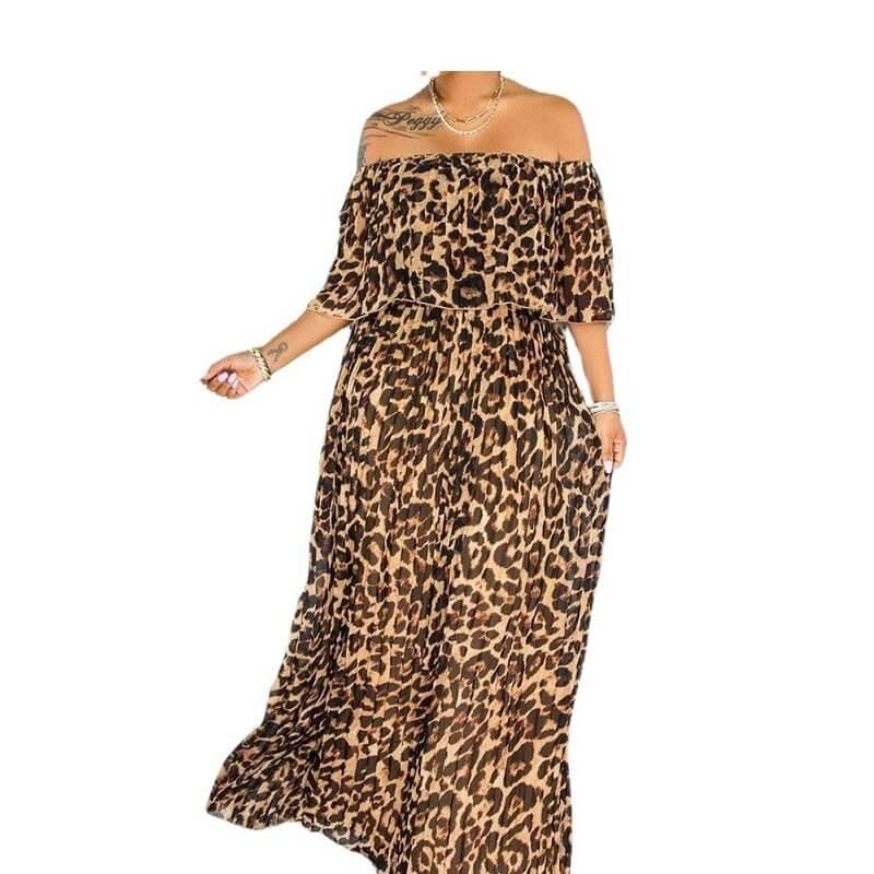 Plus Size Maxi Dresses - lepard print main picture