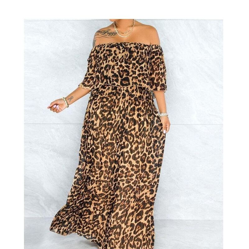 Plus Size Maxi Dresses - lepard print color