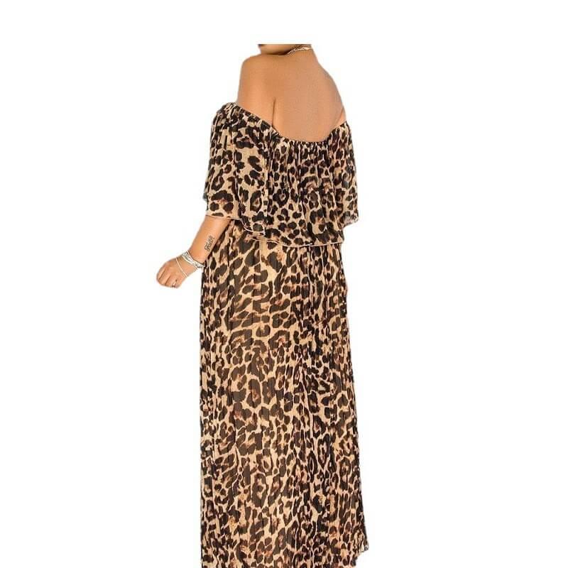 Plus Size Maxi Dresses - lepard print left