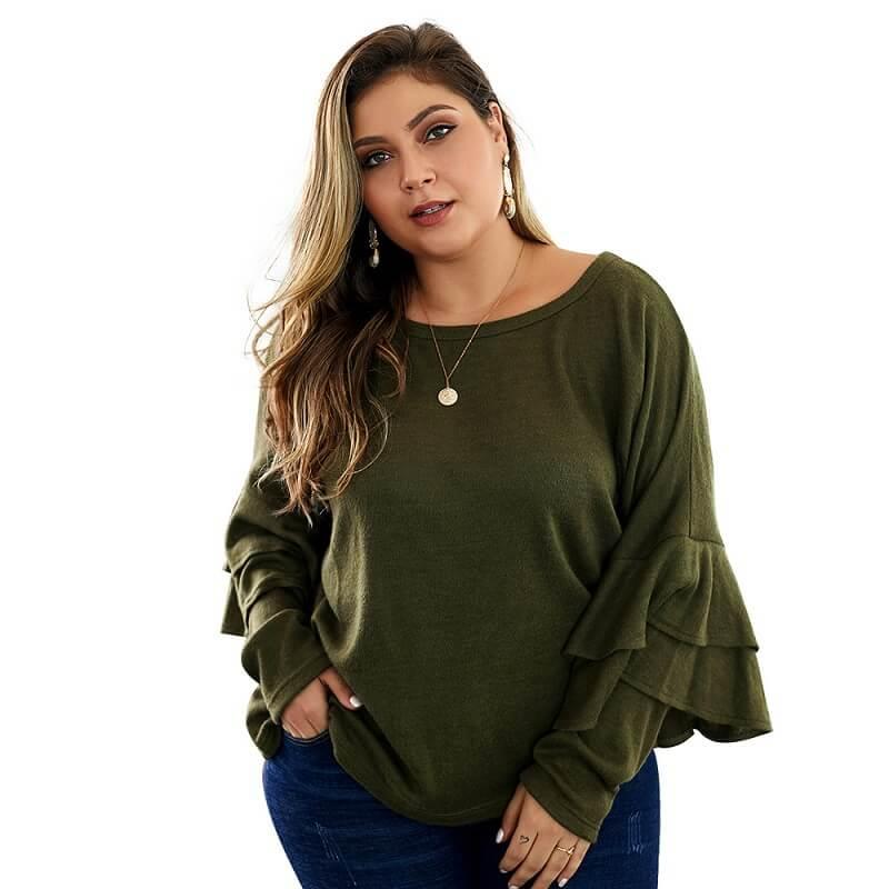 Plus Size Mustard Sweater - green positive