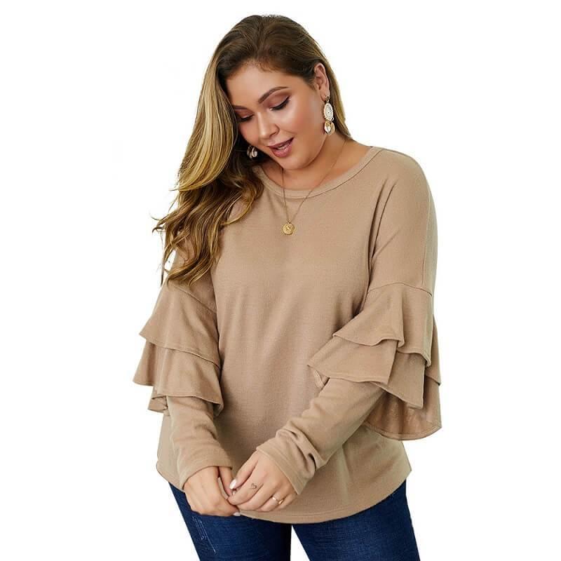 Plus Size Mustard Sweater - khaki positive