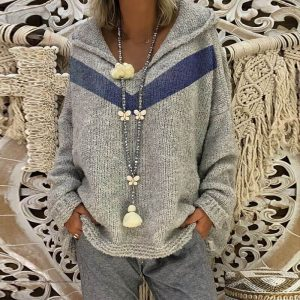 Oversized Grey Hooded Knitted Sweater - gray color