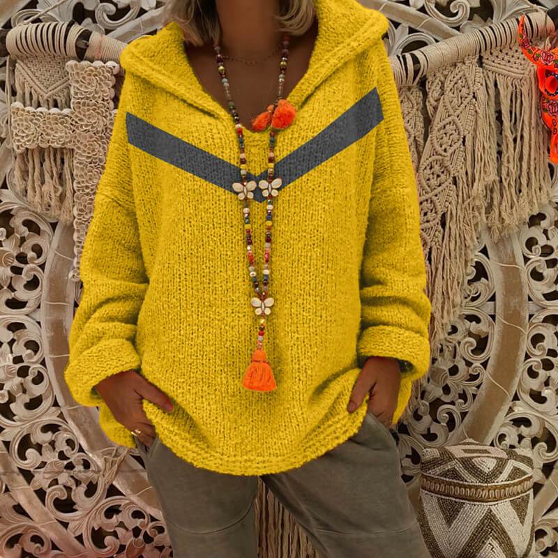 Oversized Grey Hooded Knitted Sweater - yellow color