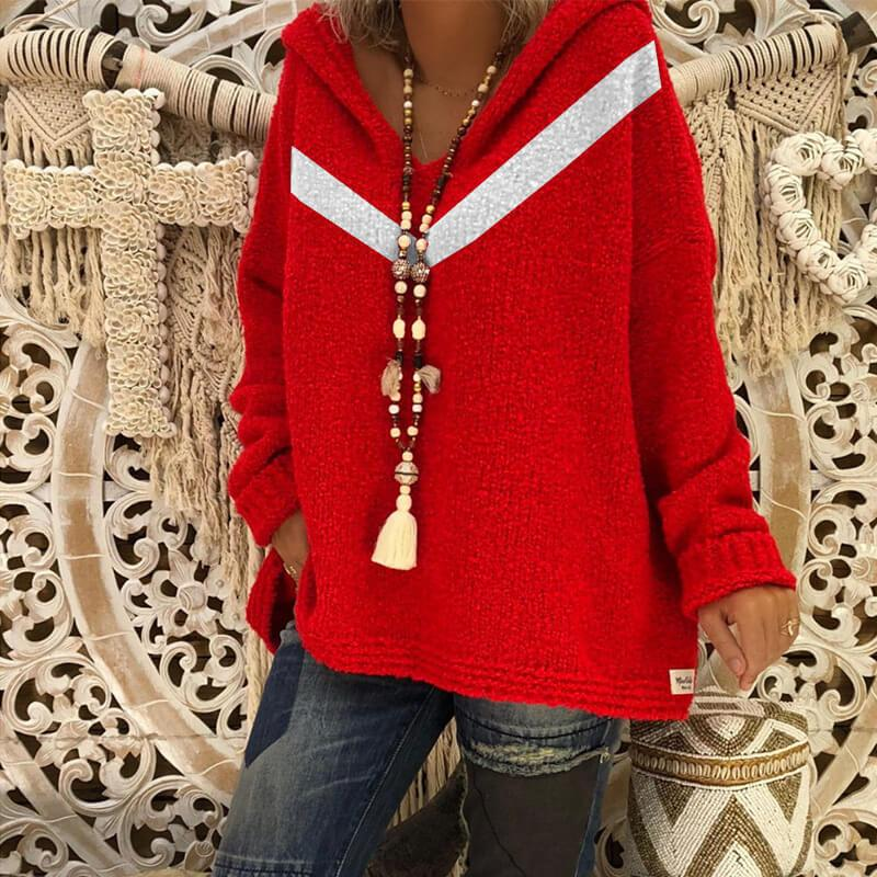 Oversized Grey Hooded Knitted Sweater - redcolor