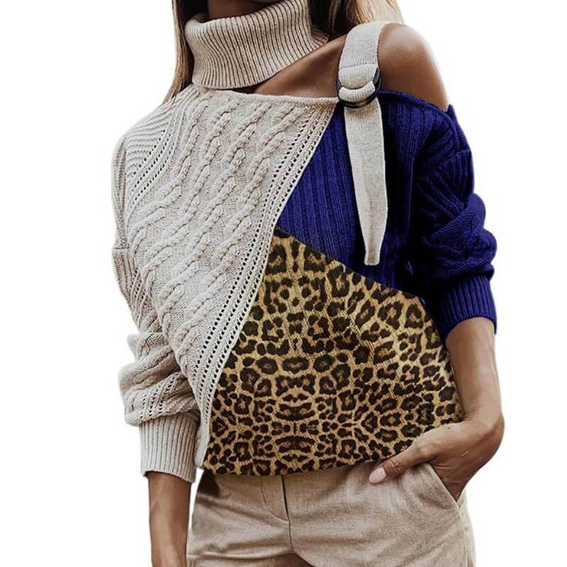 Plus Size Off The Shoulder Sweater - blue color