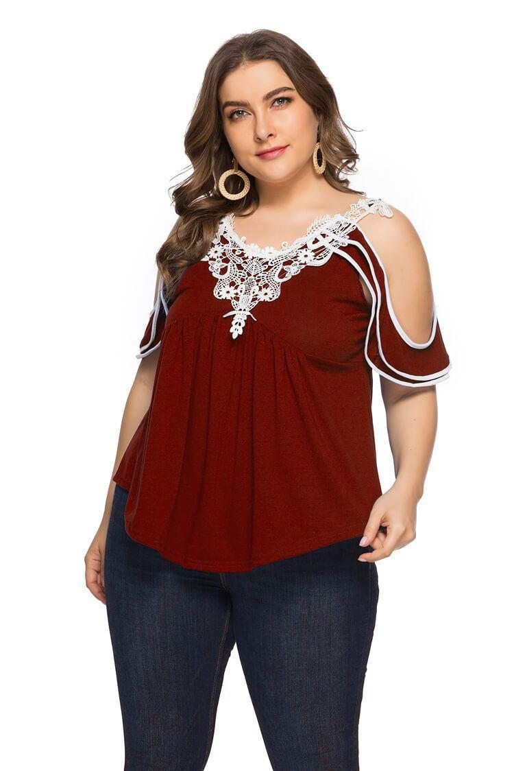 Plus Size Off The Shoulder T Shirt - red color