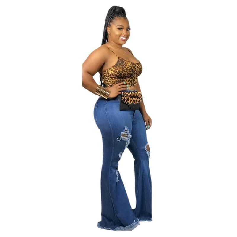 Plus Size Women's Flare Jeans - blue side