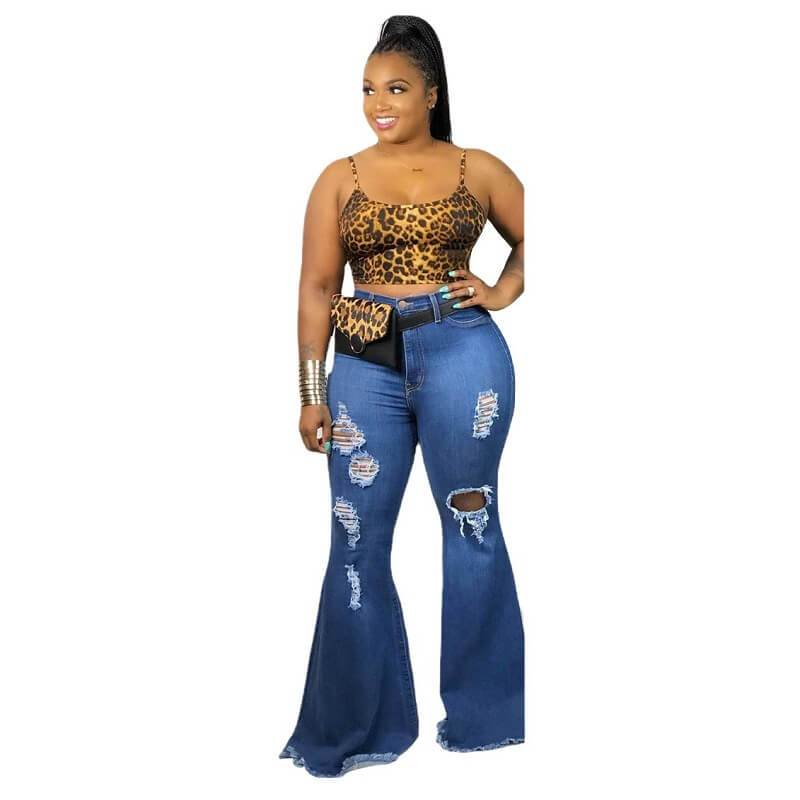 Plus Size Women's Flare Jeans - blue positive