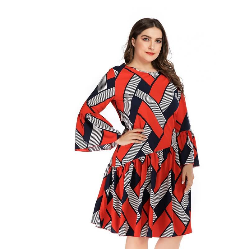 Oversized Two-tone Casual Dress - red side