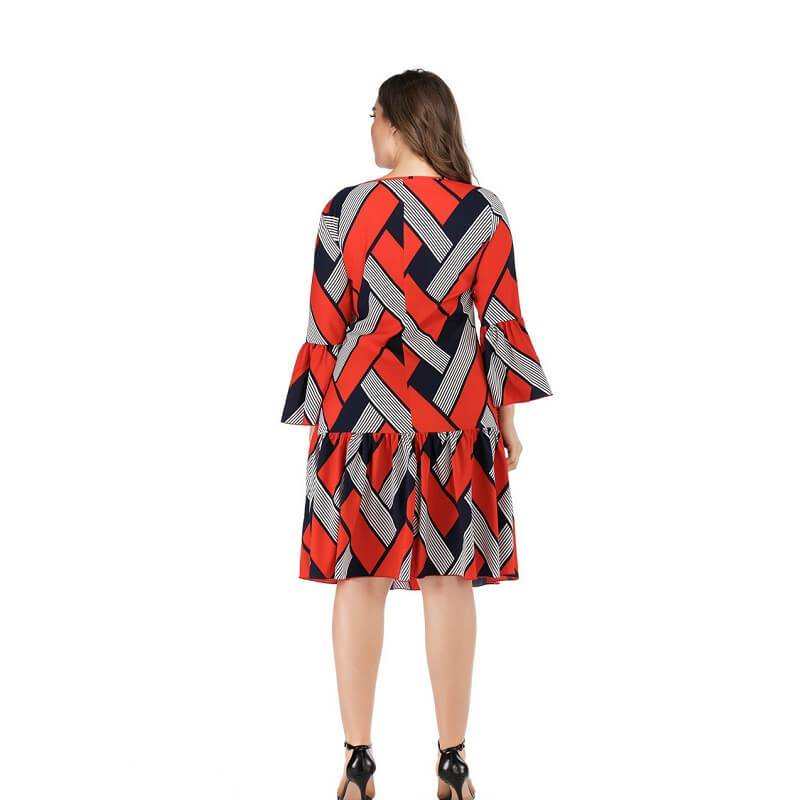 Oversized Two-tone Casual Dress - red back