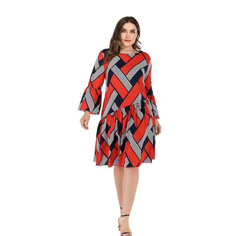 Oversized Two-tone Casual Dress- red whole body