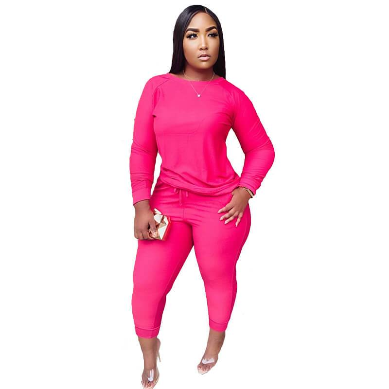 Plus Size Green 2 Piece Sets -   rose red color