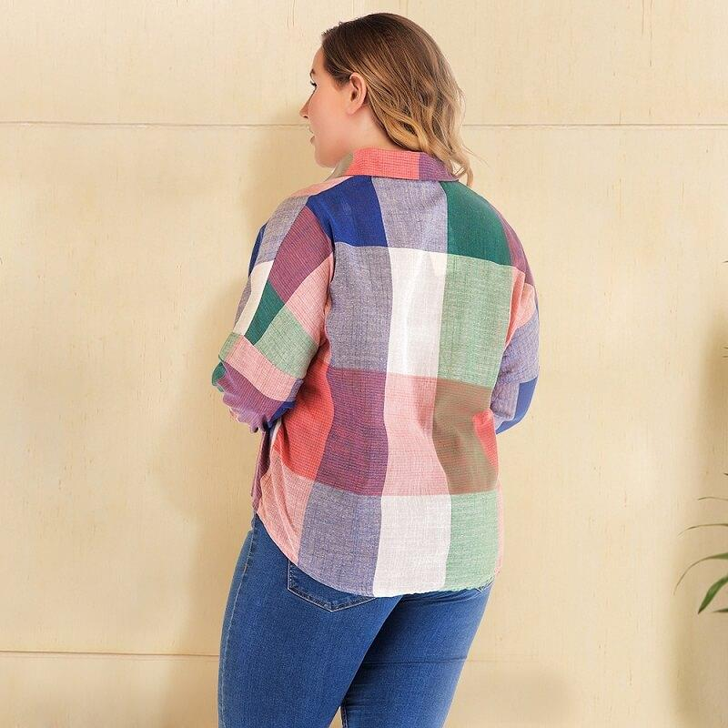Plus Size White Button Down Blouse - colorful back