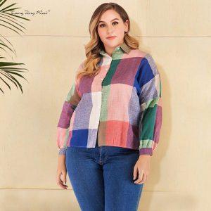Plus Size White Button Down Blouse - colorful main picture