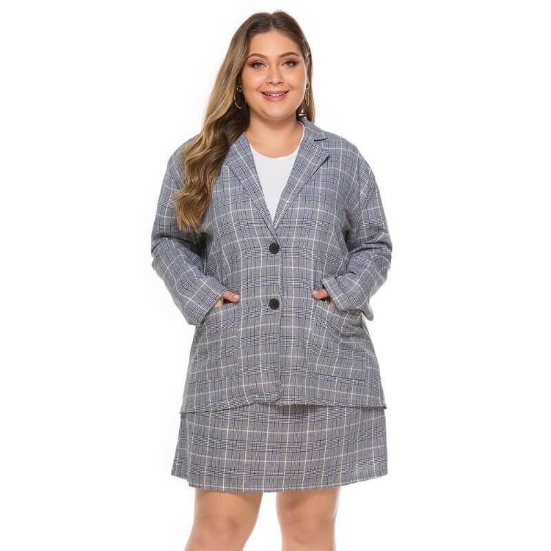 Plus Size Plaid Skirt Set - main picture