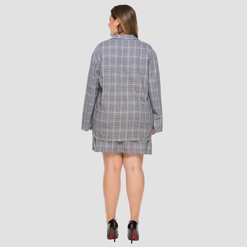Plus Size Plaid Skirt Set - blue back