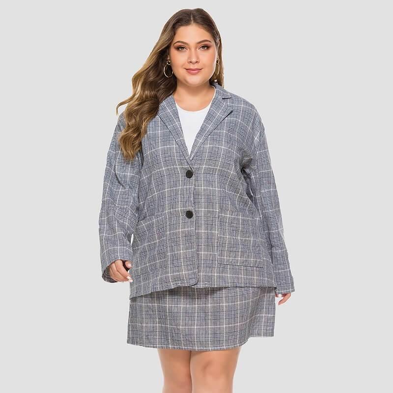 Plus Size Plaid Skirt Set - blue positive