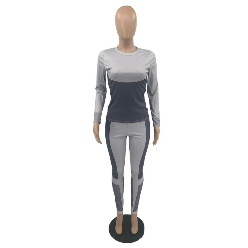 Plus Size Printed Long Sleeve Sports Suit - gray positive