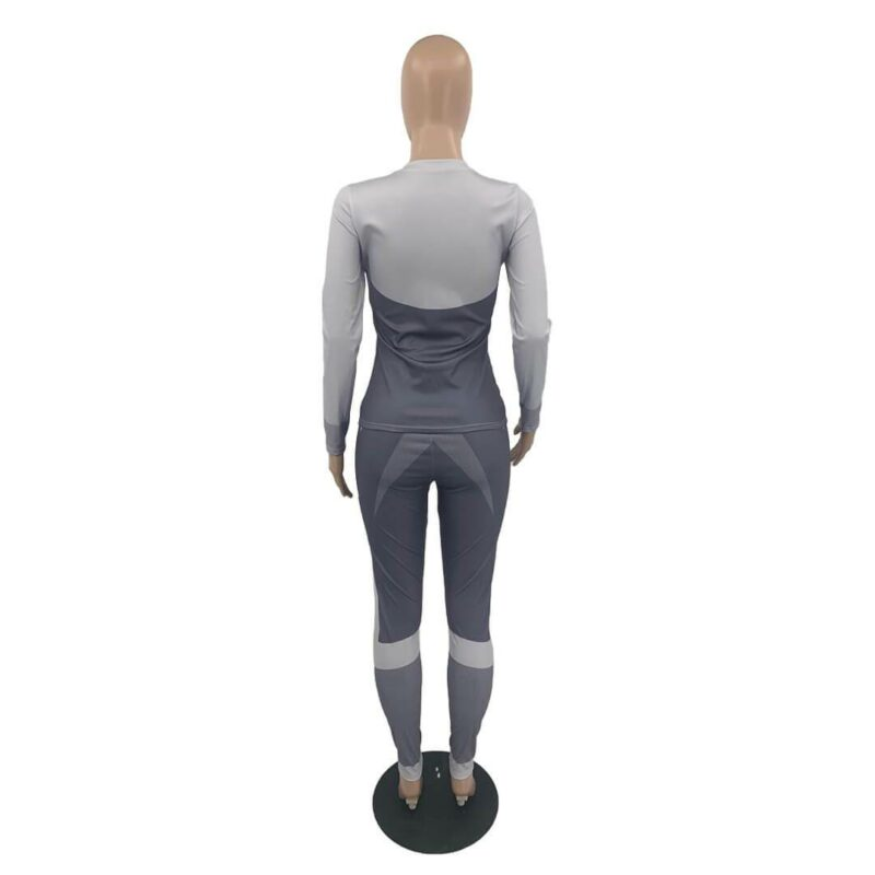 Plus Size Printed Long Sleeve Sports Suit - gray back