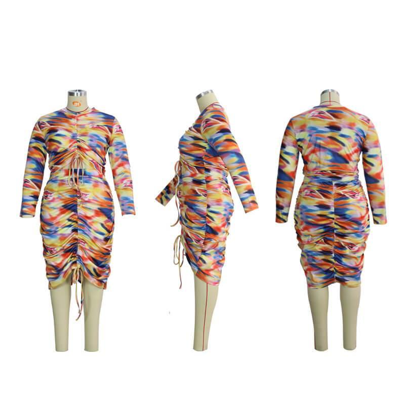 Plus Size Hawaiian Dress - colorful detail image