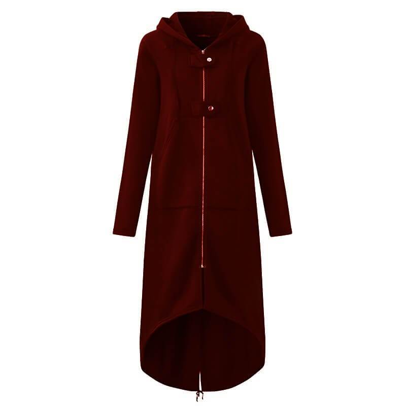 Plus Size Red Coat - wine red color