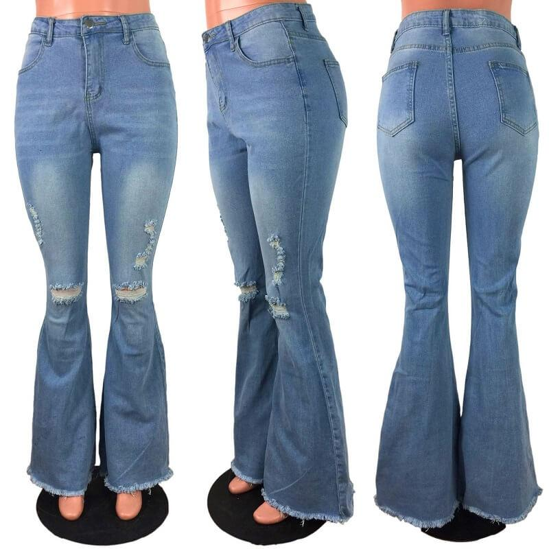 Plus Size Women's Ripped Jeans - light blue model picture