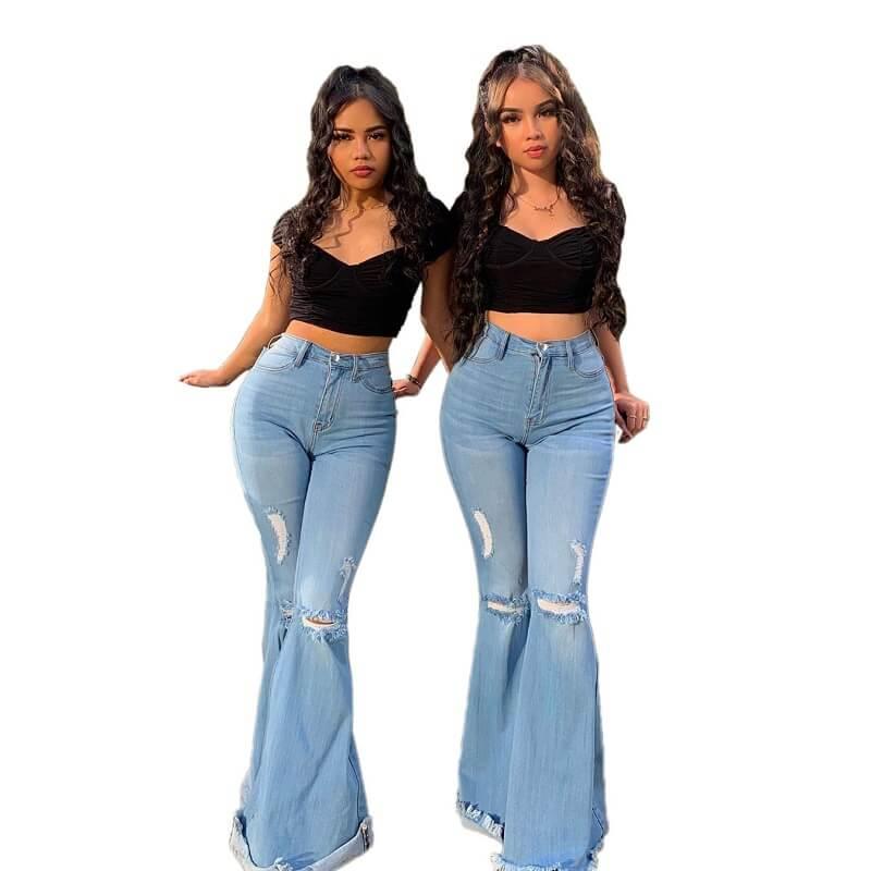 Plus Size Women's Ripped Jeans - light blue color