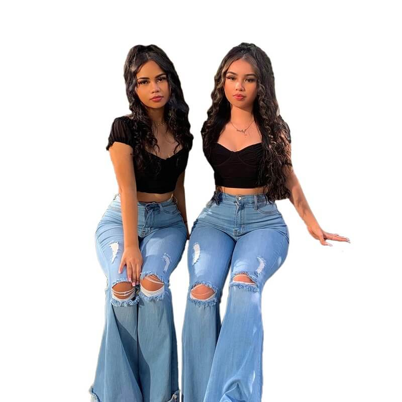 Plus Size Women's Ripped Jeans - main picture