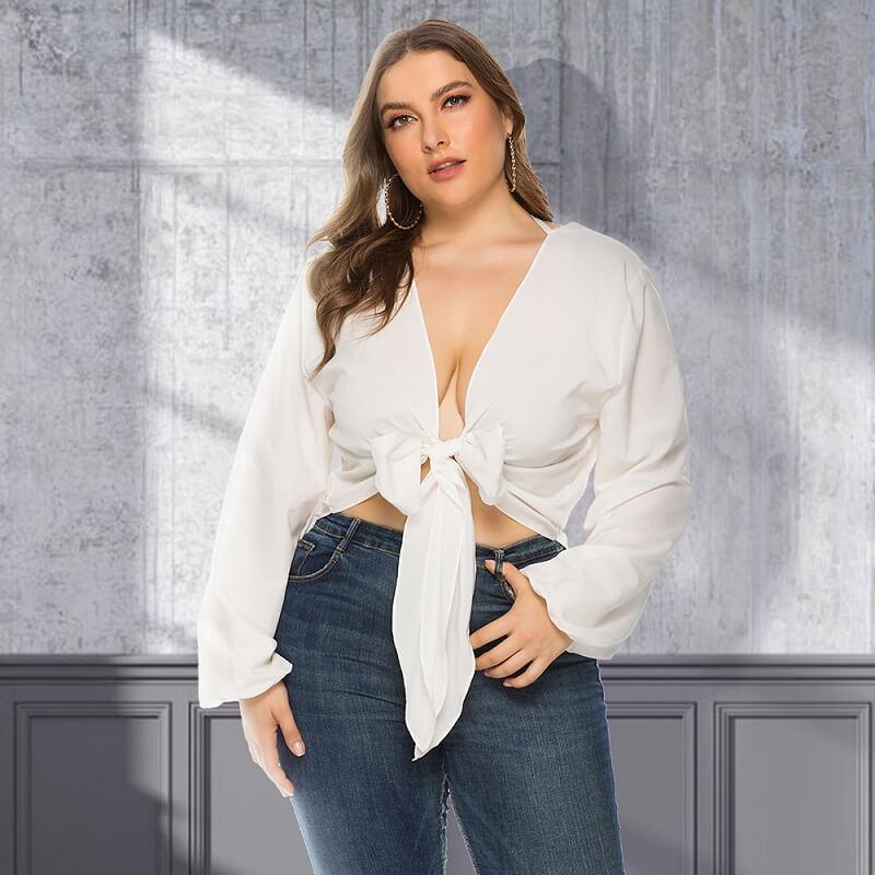 White Long Sleeve Blouse Plus Size - white color