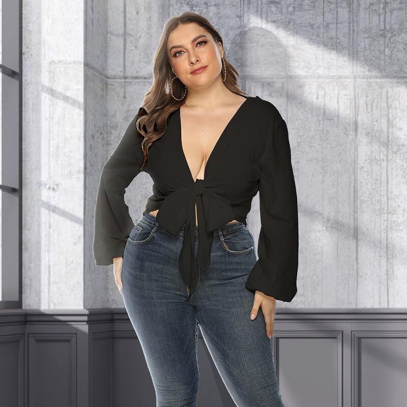 White Long Sleeve Blouse Plus Size - black positive