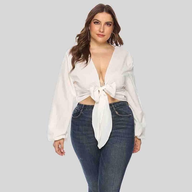 White Long Sleeve Blouse Plus Size - white positive