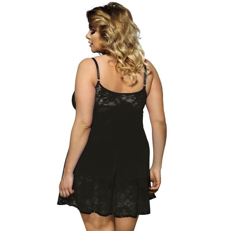 Plus Size Sexy Lace Sling Nightdress - black back