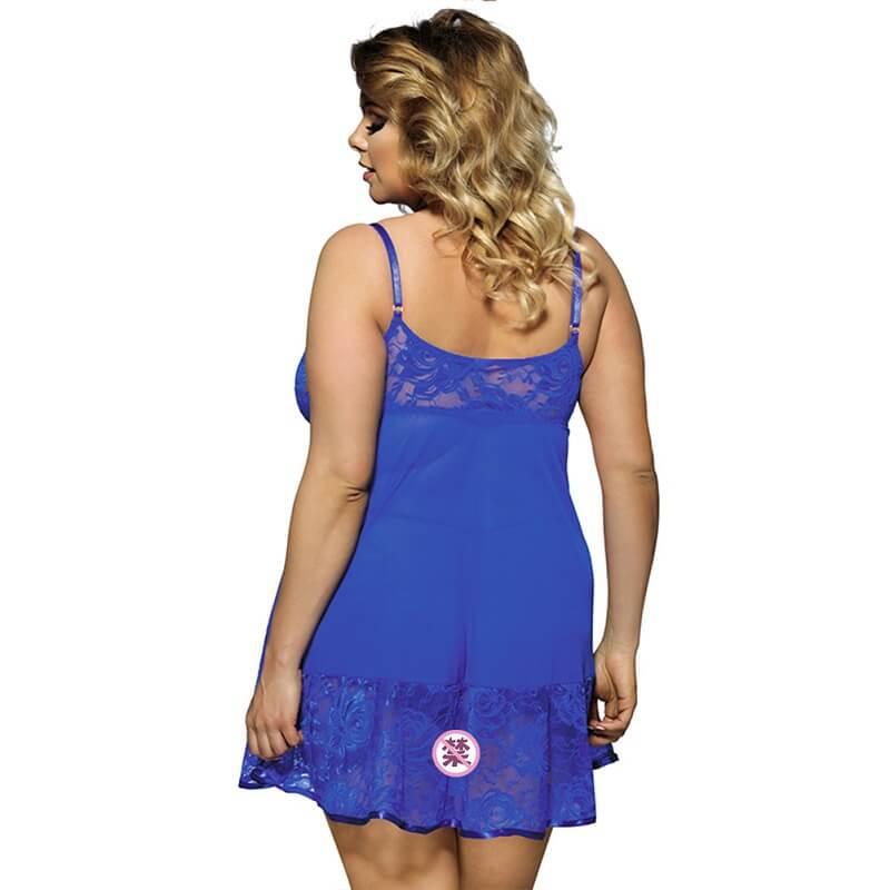 Plus Size Sexy Lace Sling Nightdress - blue back