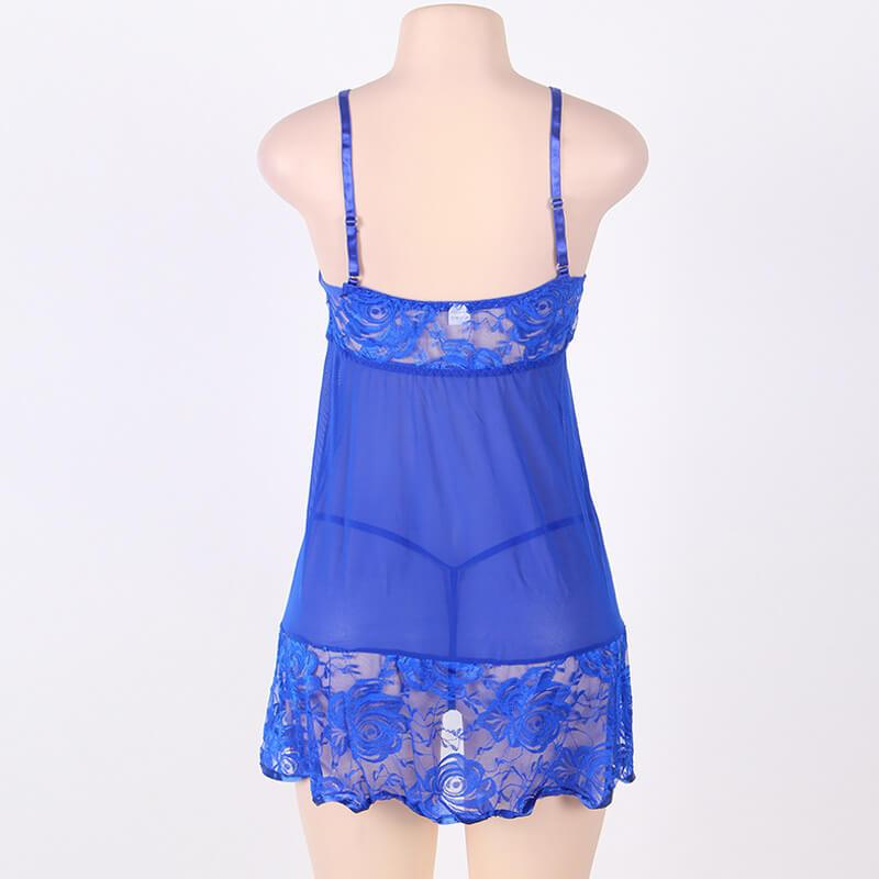Plus Size Sexy Lace Sling Nightdress - blue behind