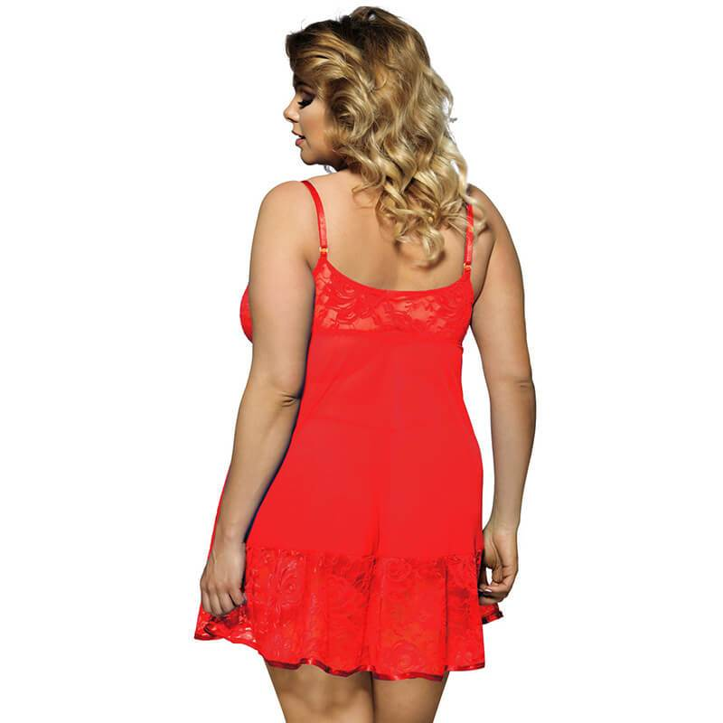 Plus Size Sexy Lace Sling Nightdress - red back