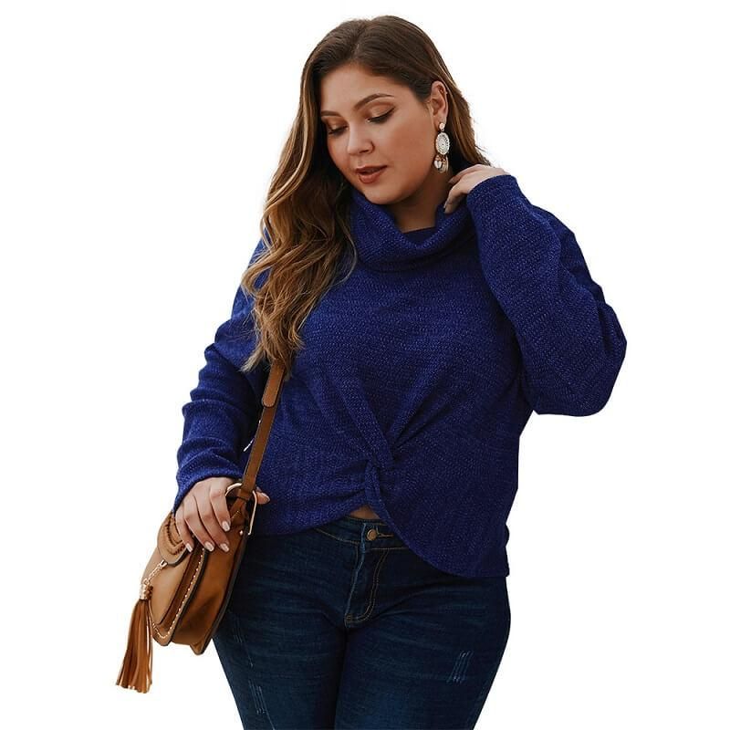 Plus Size Shaggy Sweater - navy color