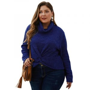 Plus Size Shaggy Sweater - navy main picture