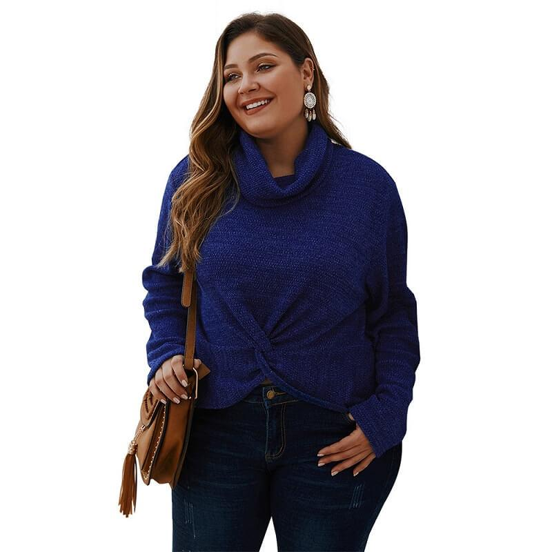 Plus Size Shaggy Sweater - navy positive