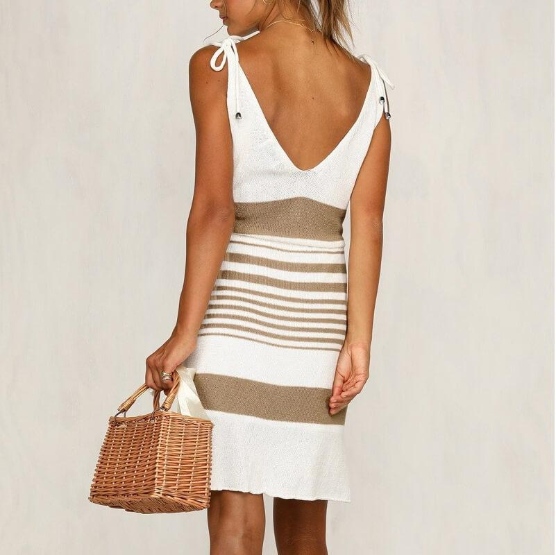plus size smock dress - khaki back